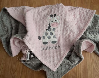 Giraffe Personalized Minky Baby Blanket, Personalized Minky Baby Blanket, Pink and Gray Giraffe Appliqued Blanket, Giraffe Minky Blanket