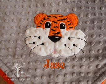 Tiger Personalized Minky Baby Blanket, Personalized Minky Baby Blanket, Personalized Baby Gift, Appliqued Tiger Baby Blanket,