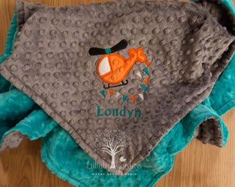 Personalized Minky Baby Blanket, Helicopter Personalized Minky Baby Blanket, Personalized Baby Gift, Helicopter Appliqued Minky Baby Blanket
