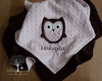 Personalized Minky Baby Blanket, Owl Minky Blanket, Owl Baby Blanket, Pink and Brown Minky Blanket, Appliqued Owl Minky Blanket