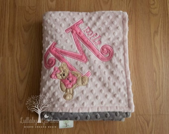 Personalized Baby Gifts, Minky Baby Blanket, Teddy Bear Minky Blanket, Appliqued Teddy Bear Minky Blanket, Girl Baby Blanket,