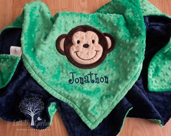 Monkey blanket etsy monkey personalized minky baby negle Gallery