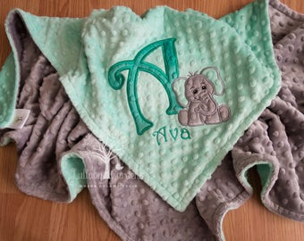 Personalized Baby Gifts, Minky Baby Blanket, Elephant Minky Blanket, Appliqued Elephant Minky Blanket, Elephant Baby Blanket
