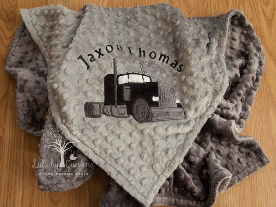 Personalized Minky Baby Blanket, Appliqued Semi Truck Minky Baby Blanket, Baby Boy Blanket, Personalized Baby Gift,  Semi Truck Blanket by Etsy