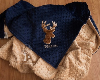 Personalized Minky Baby Blanket, Deer Minky Baby Blanket, Buck minky blanket, Personalized Baby Gift, Appliqued Minky Baby Blanket