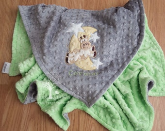 Cow jumped over the Moon, Minky Baby Blanket, Personalized Minky Baby Blanket, Personalized Baby Gift, Appliqued Minky Baby Blanket