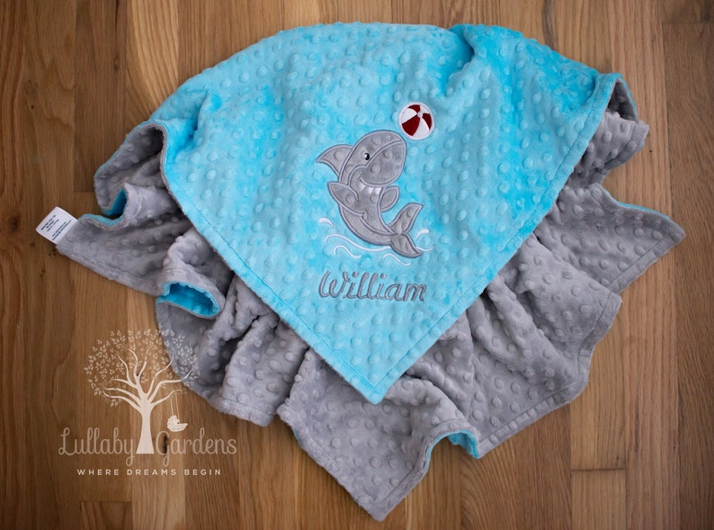 Shark Personalized Minky Baby Blanket Toddler Blanket Crib Blanket Shark Appliqued Minky Baby Blanket Personalized Baby Gift,