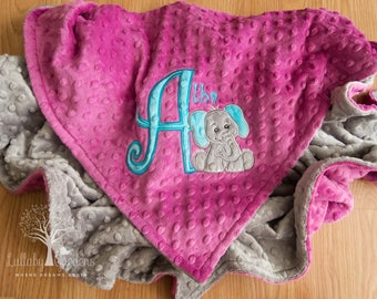 Personalized Minky Baby Blanket, Personalized Baby Gifts,  Elephant Minky Blanket, Appliqued Elephant Minky Blanket, Elephant Baby Blanket,