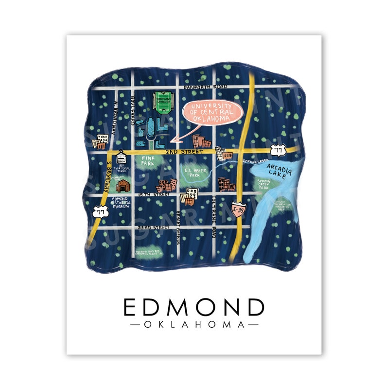 Edmond Oklahoma Map Ok Map Uco University Of Central Etsy