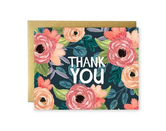Illustrated Navy Blue Floral Thank You Card - Blank Inside - Individual or Boxed Set - Hand Painted Design