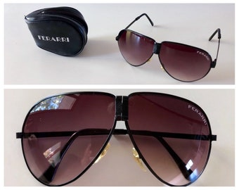 112c869d223 Vintage 1980s Ferarri Sunglasses   Like New   Fold Up   80s Aviator  Sunglasses