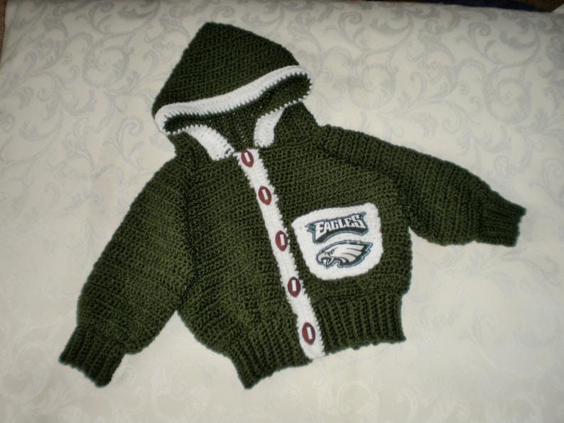 Philadelphia Eagles Little Fan Crocheted Hoodie Sweater for 12 to 18 Months