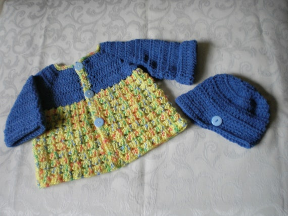 098b0e5ca Crocheted Baby Boy Sweater Jacket and Hat Set for 6 to 12