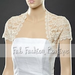 Ivory short sleeved lace bolero jacket shrug Size S-XL, 2XL-5XL