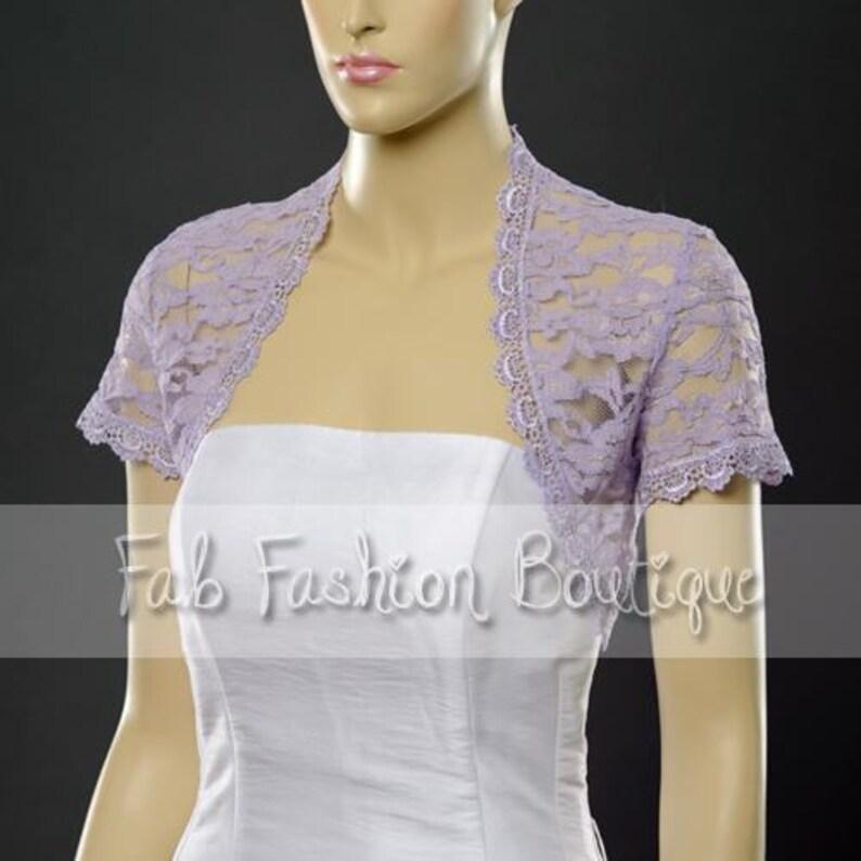 LILAC LACE full length//long sleeved Bridal Wedding//evening Shrug Bolero.