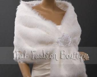 White/Ivory faux fur wedding bridal evening shawl shrug cape