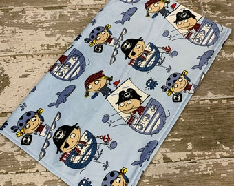 Minky Baby Blanket in Blue Pirates with Navy Blue Backing