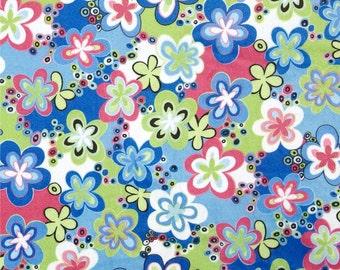 Minky Fabric, Happy Talk Flowers Blue, 1 Yard