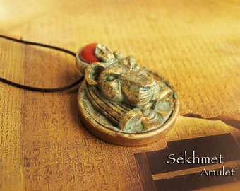 Sekhmet Ceremonial Amulet - Lioness Goddess - She Who Is Powerful - Handcrafted - Carnelian Solar Disc - Aged Golden Brass Patina Finish