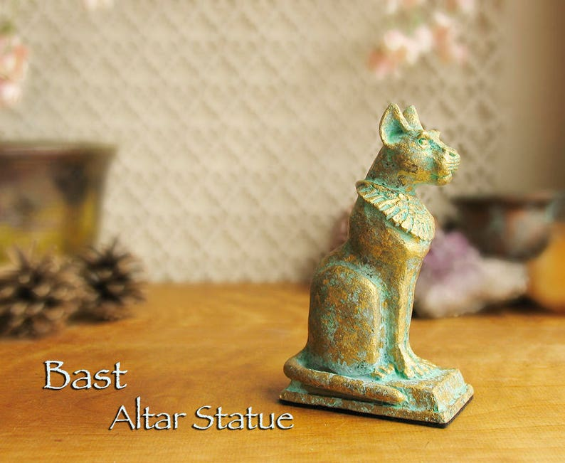 Bast Altar Statue - Bastet - Ancient Egyptian Goddess of Protection -  Handcrafted Polymer Clay Statue - Aged Golden Brass Patina Finish