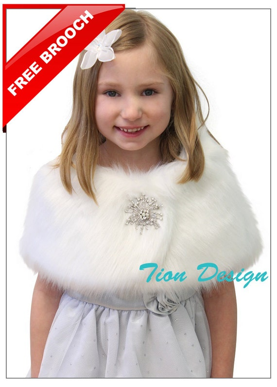 Ivory Wedding Party Flower Girl faux fur stole Wraps Cap  S L M