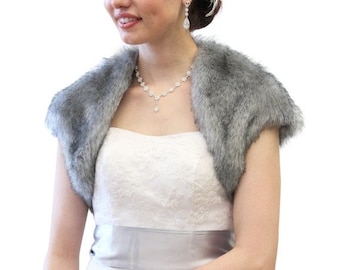 Father's Day Sale Faux Fox Fur Bridal Bolero Crop Jacket, Faux Fur Shrug, Faux fur Coat Grey Chinchilla