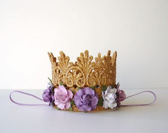 Purple and Gold Birthday Crown - Purple Lavender Lilac White Flowers - Baby Gold Crown - Photo Prop - First Birthday Crown - Cake Smash
