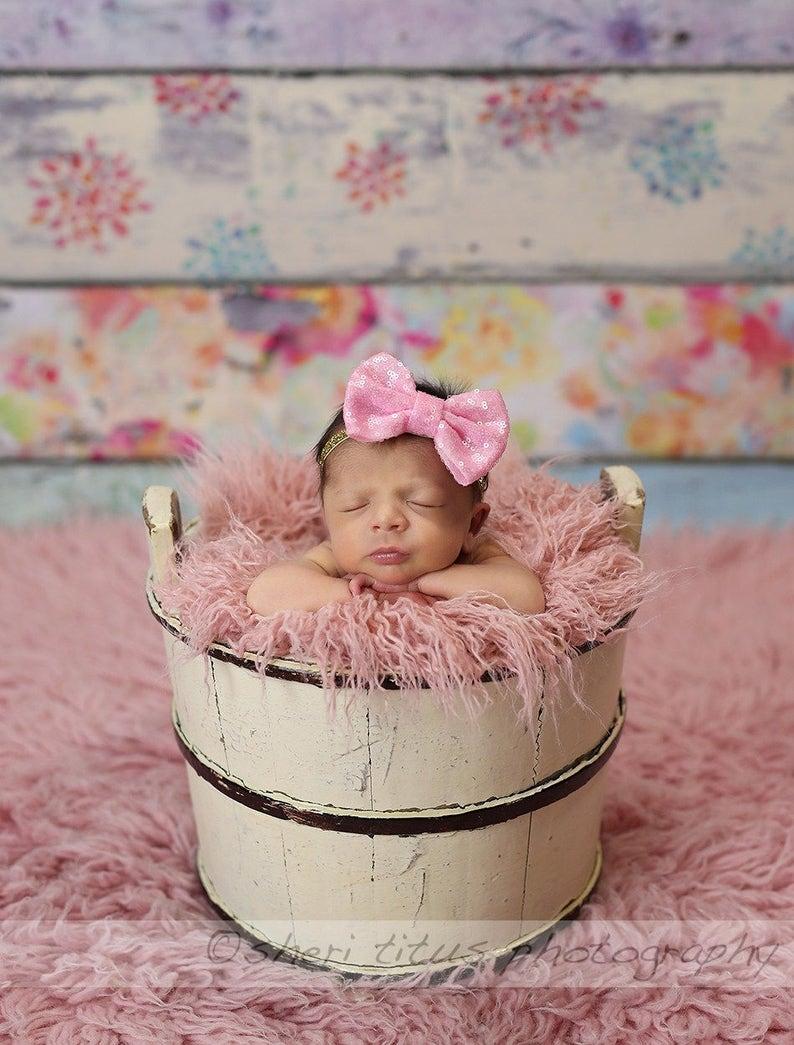 Baby Pink and Gold Large Sequin Bow Headband Gold Glitter Headband Bubblegum Pink Bow Birthday Sparkly Newborn