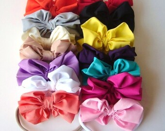 Set of 5 Bows Large Bow Headband - Big Baby Bow Headband - Big Bow Newborn Headband - Messy Bow Headband - Soft Nylon Band - Thin Soft Band