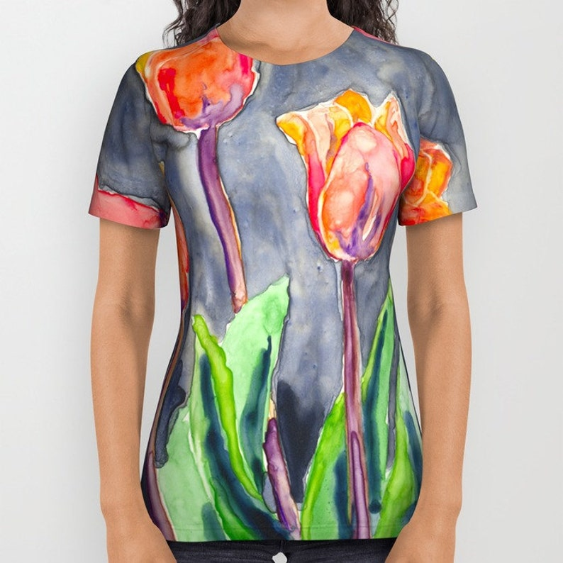 0088c43c21cd0 Designer Clothing - Tulips Painting - Artistic All Over Printed T Shirt