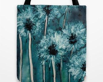 Art Tote Bag - Dandelions Watercolor Painting - Shopping Bag