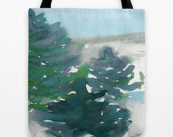 Art Tote Bag - Evergreen Watercolor Painting - Shopping Bag