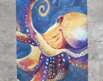Octopus Scarf - Watercolor Painting - Accessory Clothing