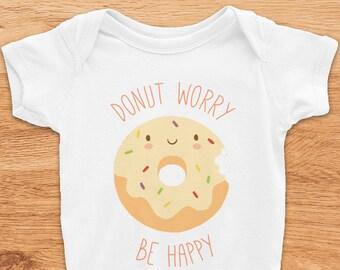 Donut Worry Be Happy Onesie, Donut Onesie, Donut Baby Clothes, Funny Baby Onesie, Funny Onesie, Baby Shower Gift, Pastel Onesie, Pun Onesie