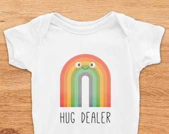 Rainbow Onesie, Hug Dealer Onesie, New Mom Gift, Funny Baby Onesie, Rainbow Baby Shower Gift, Rainbow Baby Outfit, Rainbow Baby Boy Onesie