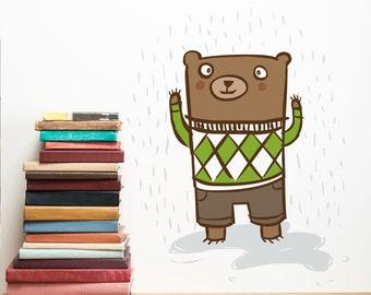 Bear Nursery Wall Sticker, Nursery Wall Decal, Wall sticker Nursery, Bear Wall Decal, Bear Wall Sticker, Nursery Art, Woodland Nursery Art