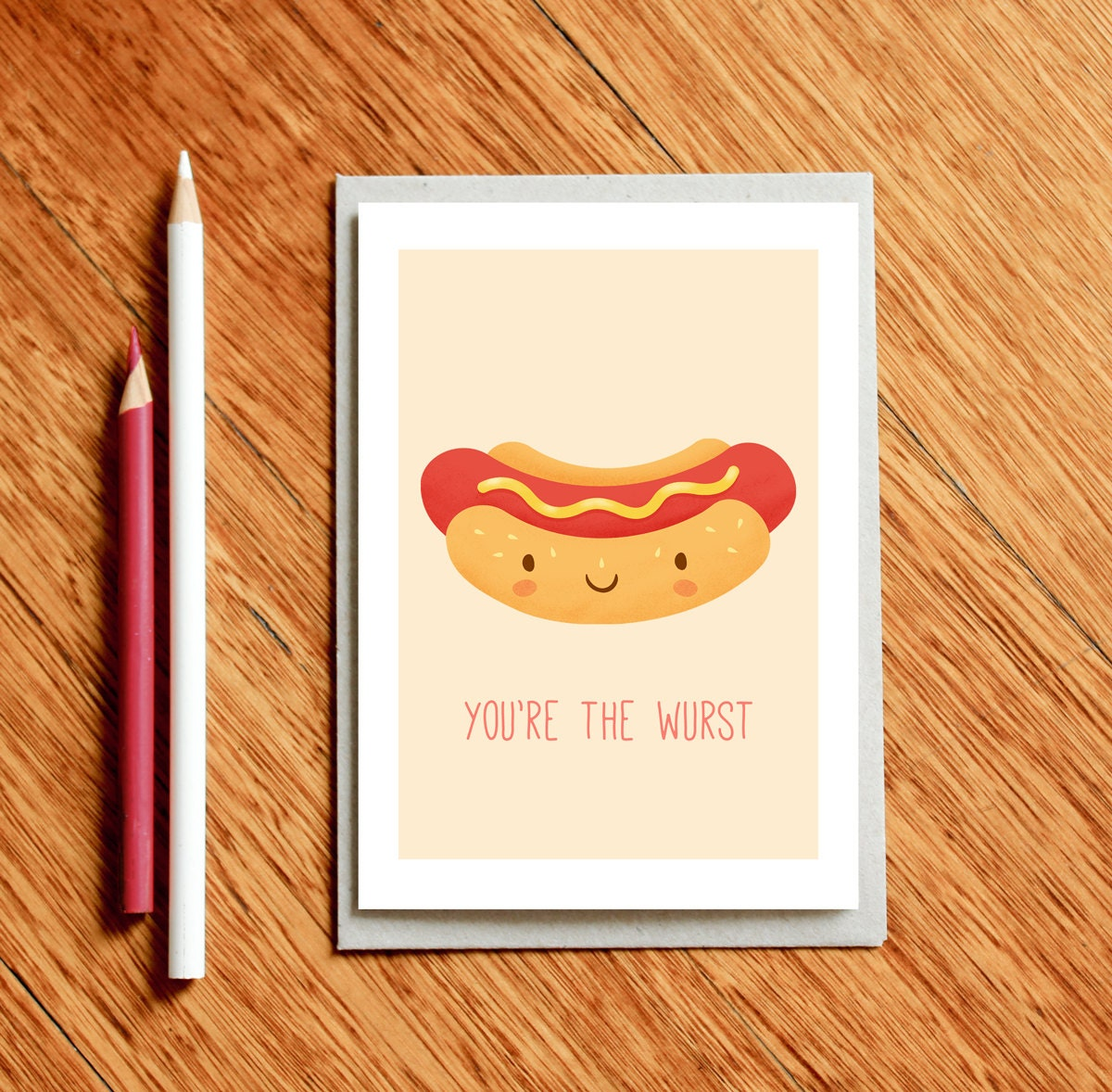 Hot Dog Funny Valentines Day Card Birthday Food Pun Anniversary Love Gift For Foodie