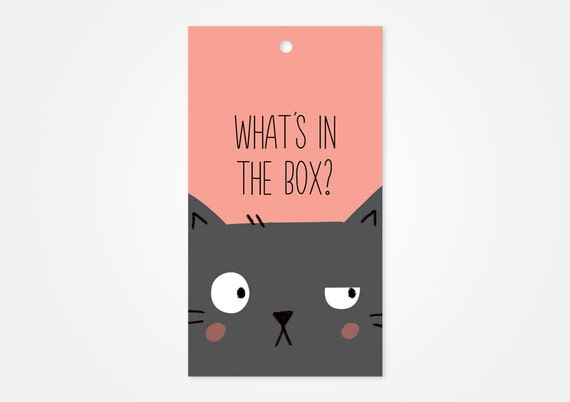 Curious Cat Gift Tag Funny Gift Tags Holiday Gift Tags Xmas Etsy