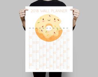 2018 Wall Calendar, 2018 Wall Planner, Donut Calendar, 2018 Calendar, Large Wall Calendar 2018, 2018 Planner, Year Planner, Monthly Planner