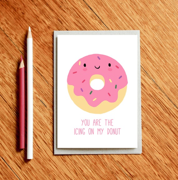 Donut Card Funny Valentine S Day Card Funny Love Card Etsy