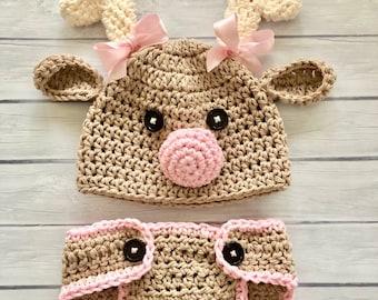 10e2cf88f4d86 Crochet reindeer hat