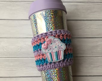 Cupcake, coffee cozy, cup cozy, summer cup cozy, summer, coffee cup cozy, cozy, cup sleeve, coffee cup sleeve, crochet coffee cozy