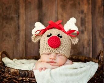 6df1ca24109f3 Reindeer hat crochet reindeer hat baby reindeer hat newborn reindeer hat  rudolph hat baby rudolph baby christmas hat newborn photo prop