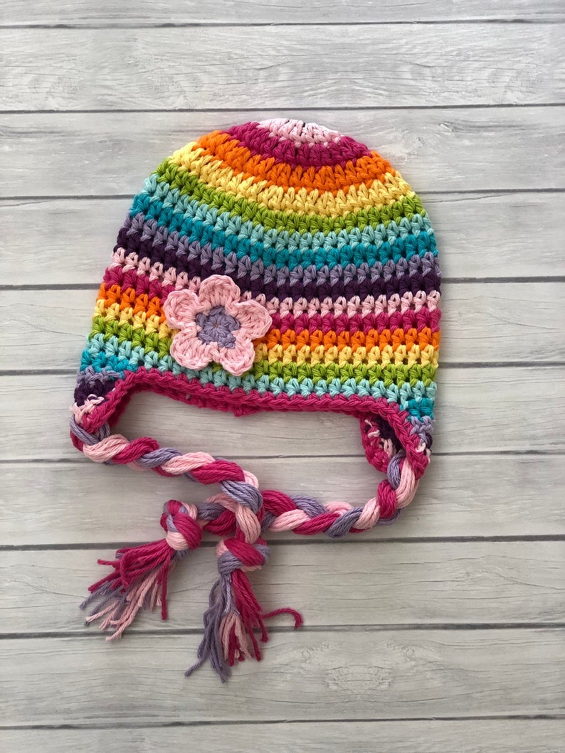 8d5bc9541 Crochet rainbow winter hat, toddler earflap hat, newborn baby hat, newborn  photo prop, rainbow baby, bright colored hat, hat for baby girls