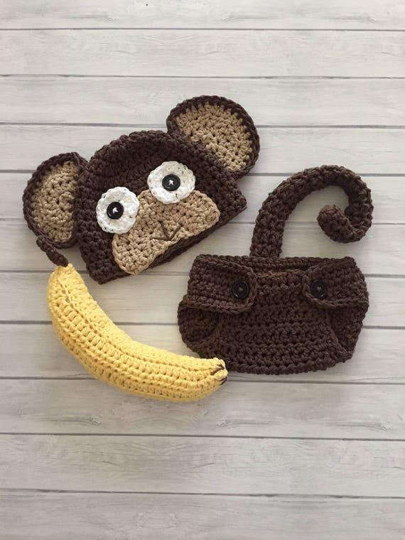 Neugeborenen Affen Hut und Windel Abdeckung Neugeborenen Foto | Etsy