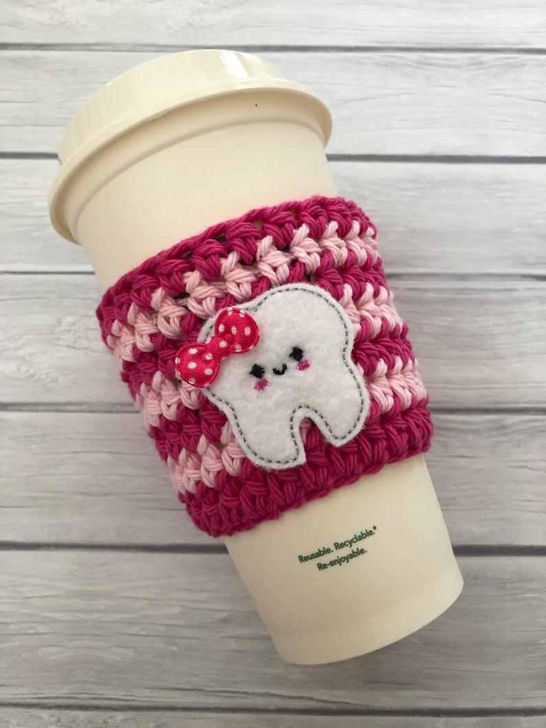 Tooth cup cozy dental hygiene cup coffee cup cozy crochet image 0