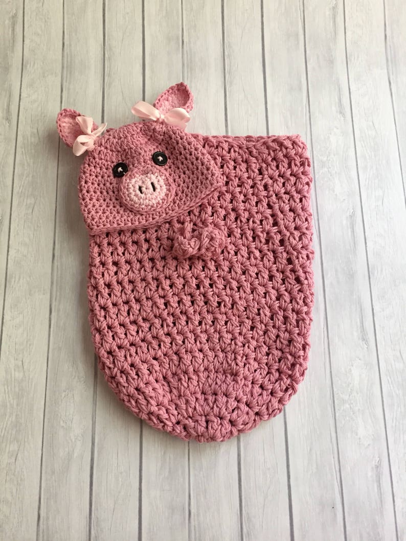 Crochet Pig Hat Pink Pig Hat Baby Pig Hat Crochet Cocoon Etsy