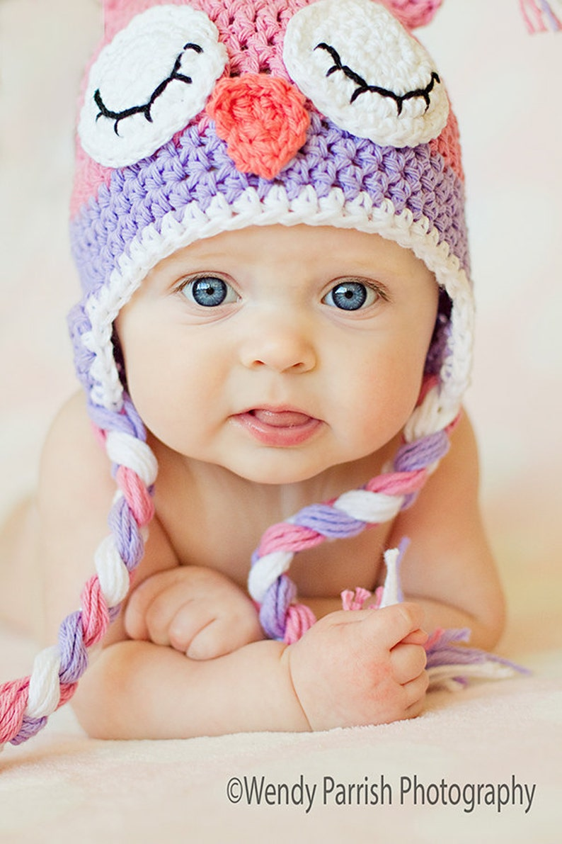 Owl hat crochet pink owl hat sleepy owl hat newborn owl  cc5e072f6774