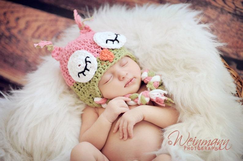 Owl hat baby owl hat crochet owl hat sleepy owl hat pink  812cc8b8ec20