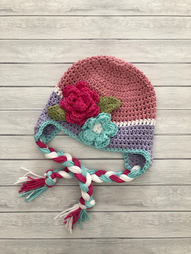 18eed789fbe Baby winter hat crochet earflap hat girls winter hat